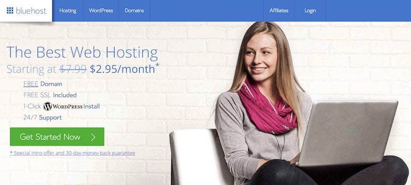 Page d'accueil Bluehost