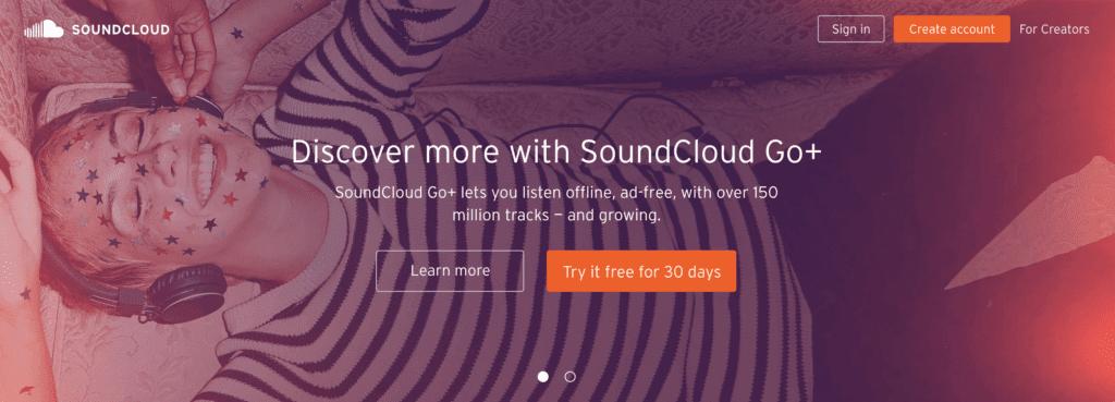 Page d'accueil SoundCloud