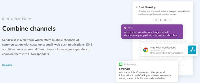 Plate-forme de courrier électronique SendPulse Omnichannel