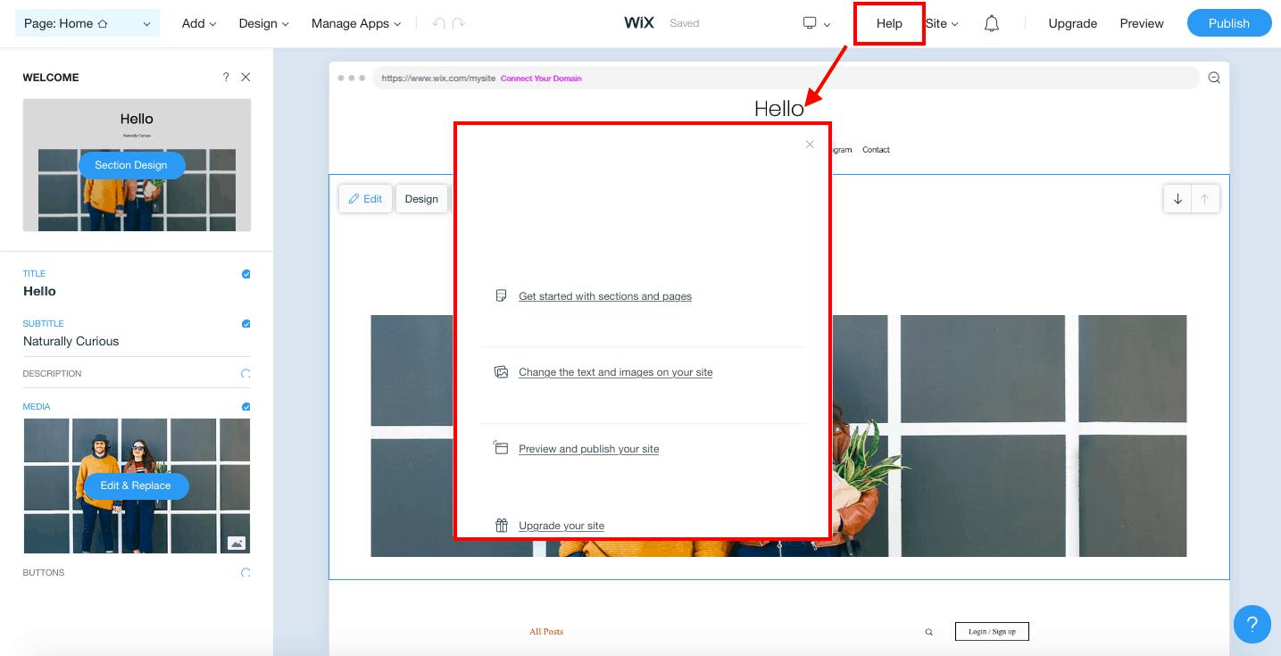 Prise en charge de Wix On Page