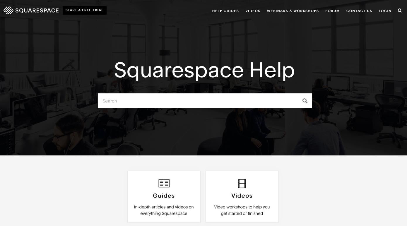 Support à la clientèle Squarespace
