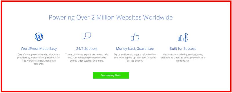 Bluehost : Fonctionnalités d'évaluation de l'hébergement Web