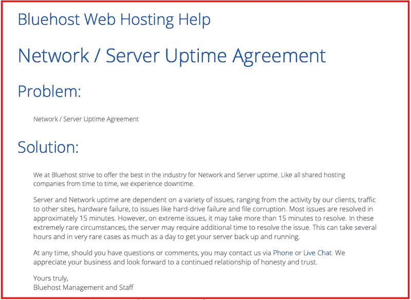 Accord de disponibilité du serveur Bluehost