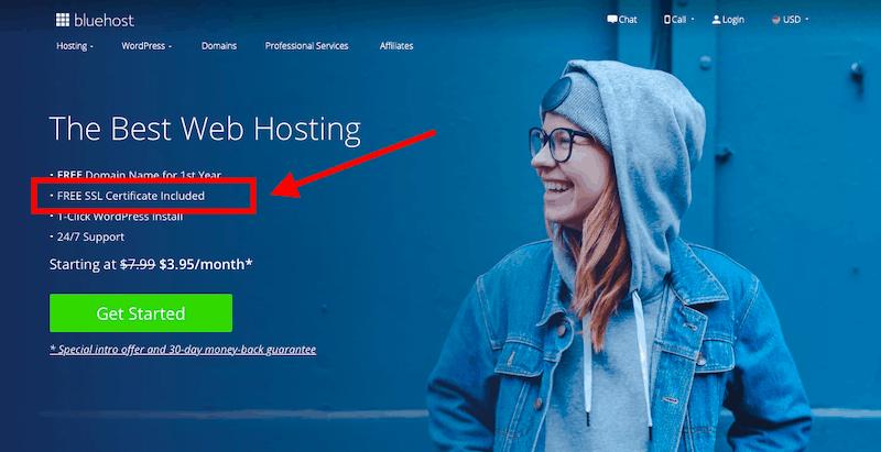 Certificat SSL gratuit Bluehost