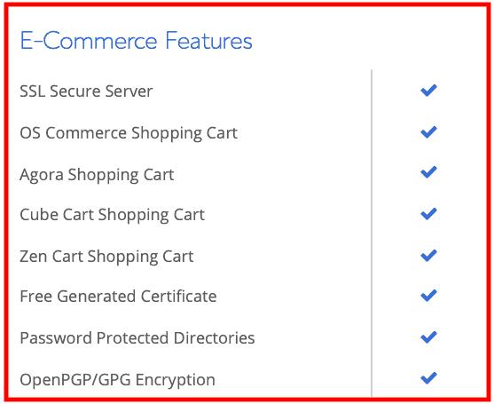 Bluehost : Hébergement Web Examen E-commerce Caractéristiques