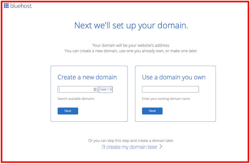 Processus d'inscription Bluehost : Nom de domaine