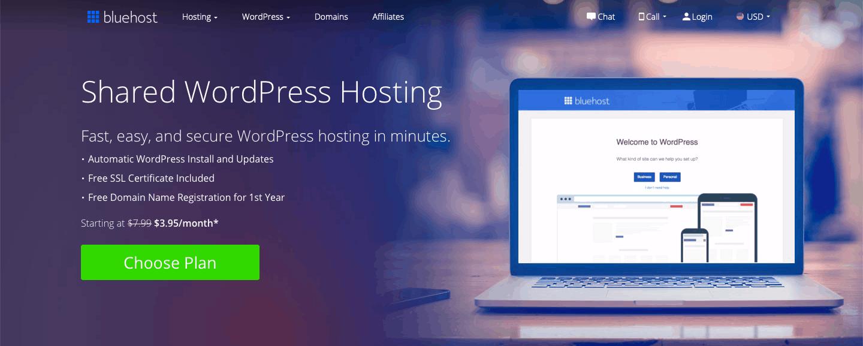 Bluehost Hébergement WordPress géré par Bluehost
