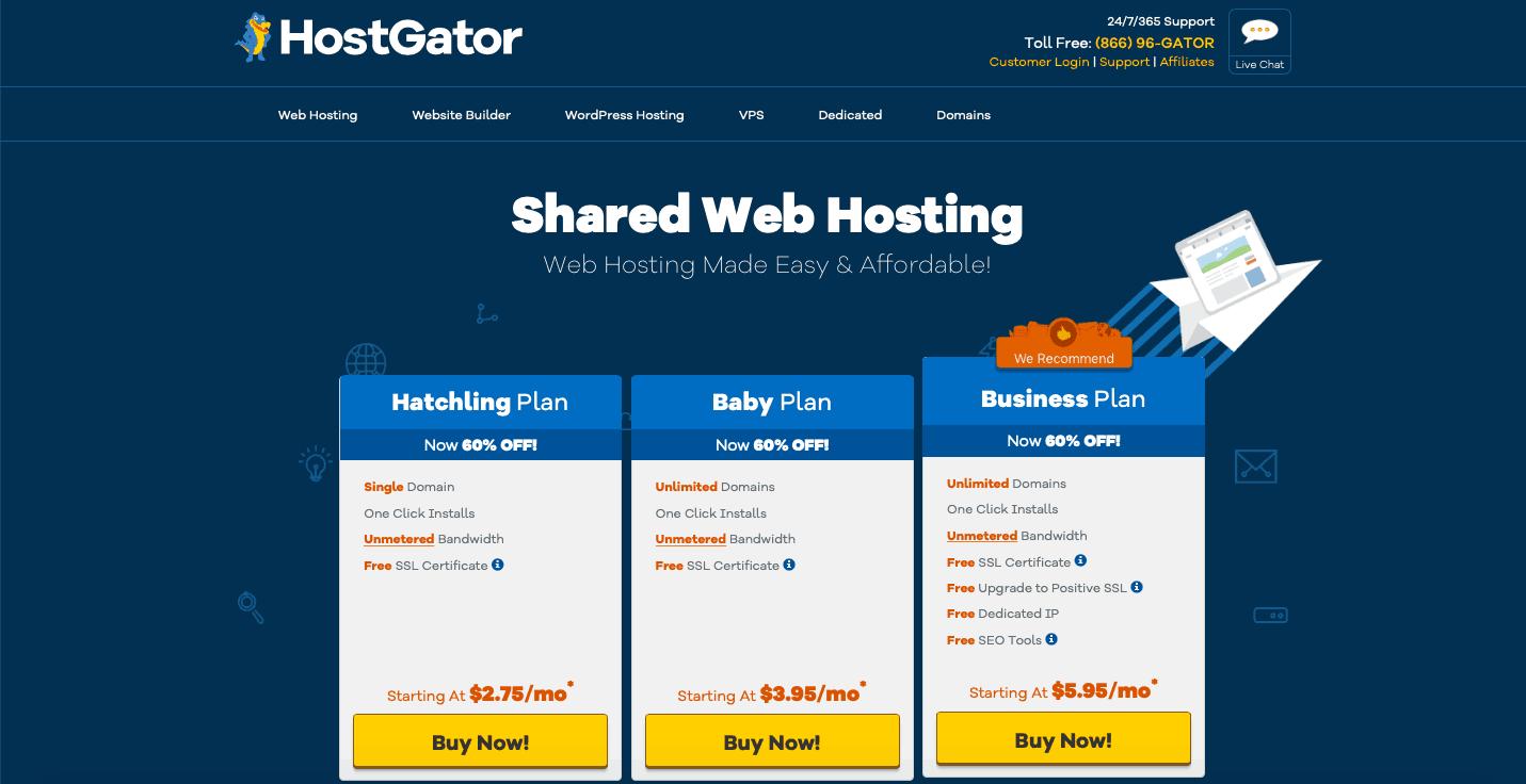 HostGator Hébergement Web partagé
