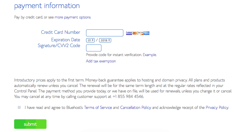 Informations de paiement Bluehost