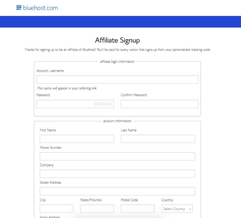 Bluehost Affiliate Inscrivez-vous