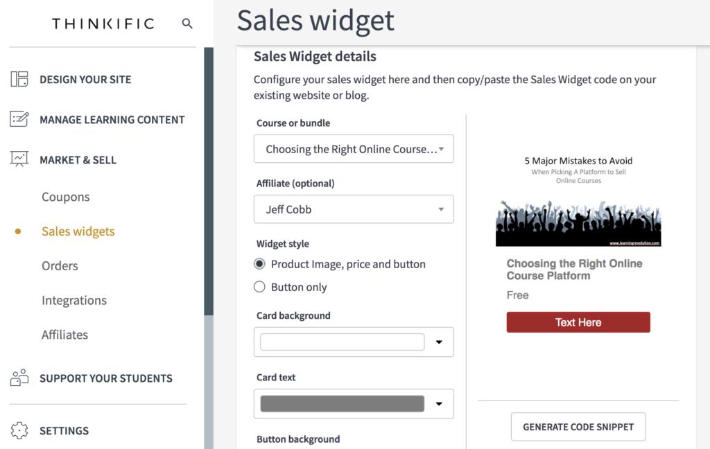 Capture d'écran du panel de widgets de vente pour Thinkific Review